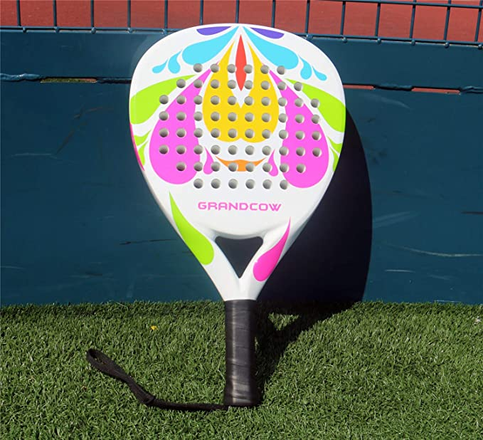 Amazon.com : GRANDCOW Beach Paddle/Padel Tennis Racket Carbon Fiber Surface with EVA Memory Flex Foam Core Diamond Shape POP Tennis Paddle Rackets (Flower ...