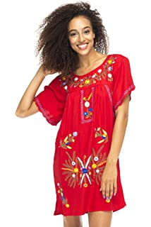 856736fc637 Back From Bali Womens Short Dress Mexican Embroidered Short Sleeves Cover Up