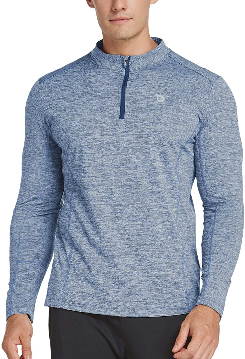 BALEAF Men's 1/4 Zip Pullover Running Shirts Long Sleeved Tops Side/Back Pocketed: Clothing