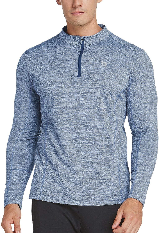 BALEAF Men's 1/4 Zip Pullover Running Shirts Long Sleeved Tops Side/Back Pocketed: Clothing