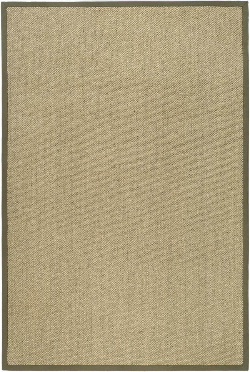 Natural Fiber Rectangular Sisal Rug in Natural and Green 9 ft. x 6 ft.