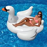 Pacago® Giant Inflatable Swan Pool Float, Outdoor Swimming Pool Floatie Float Lounge Toy Bed with Rapid Valves for Adults & Kids (Swan)