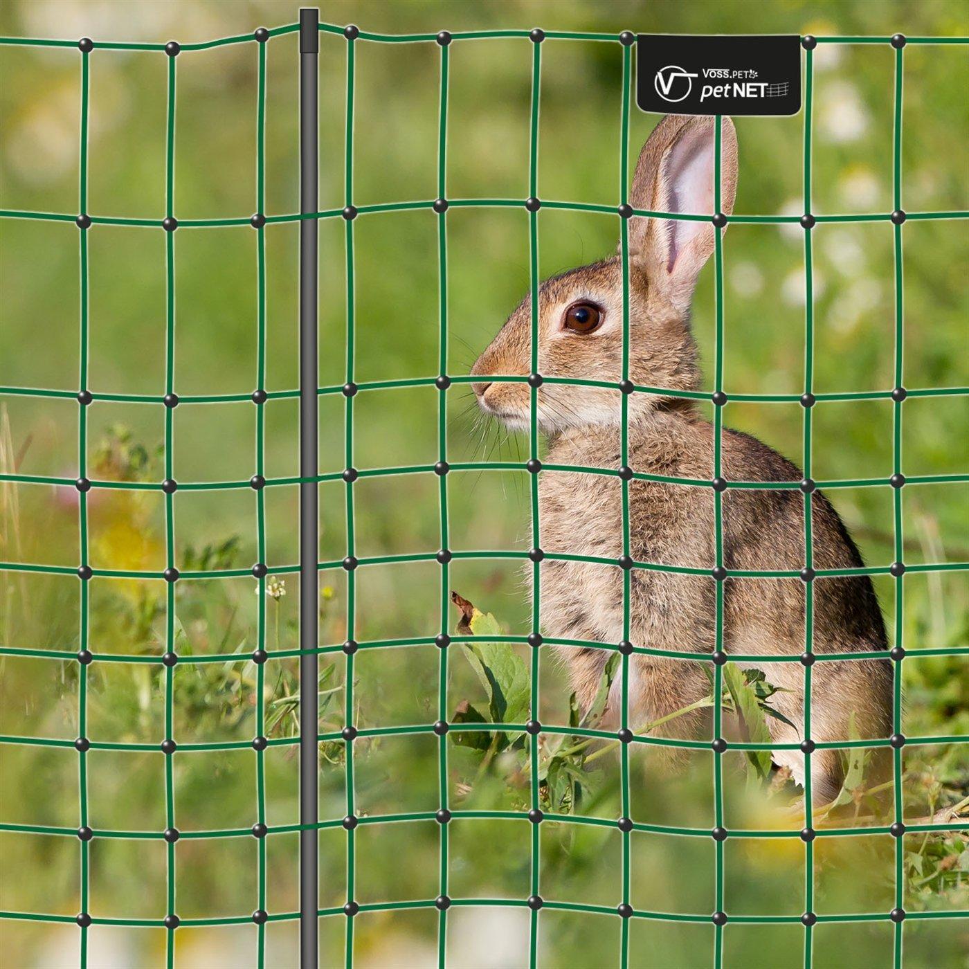 VOSS.PET Filet é lectrifiable Compact petNET pour enclos Lapins/liè vres, Petits Animaux, Longueur 12 m, Hauteur 65 cm, 9 piquets, 1 Pointe, Coloris Vert
