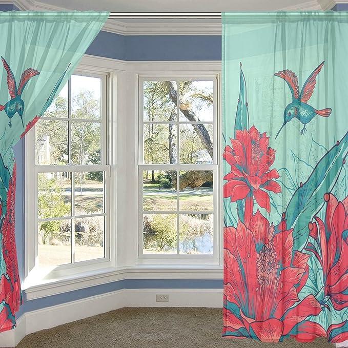 coosun rojo flores y colibrí cortina de SHEER paneles de tul poliéster gasa ventana Panel de tratamiento cortinas para dormitorio salón decoración del hogar ...
