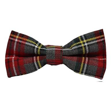 f671f019f4de Traditional Light Grey & Red Tartan Bow Tie, Check, Plaid: Amazon.co ...