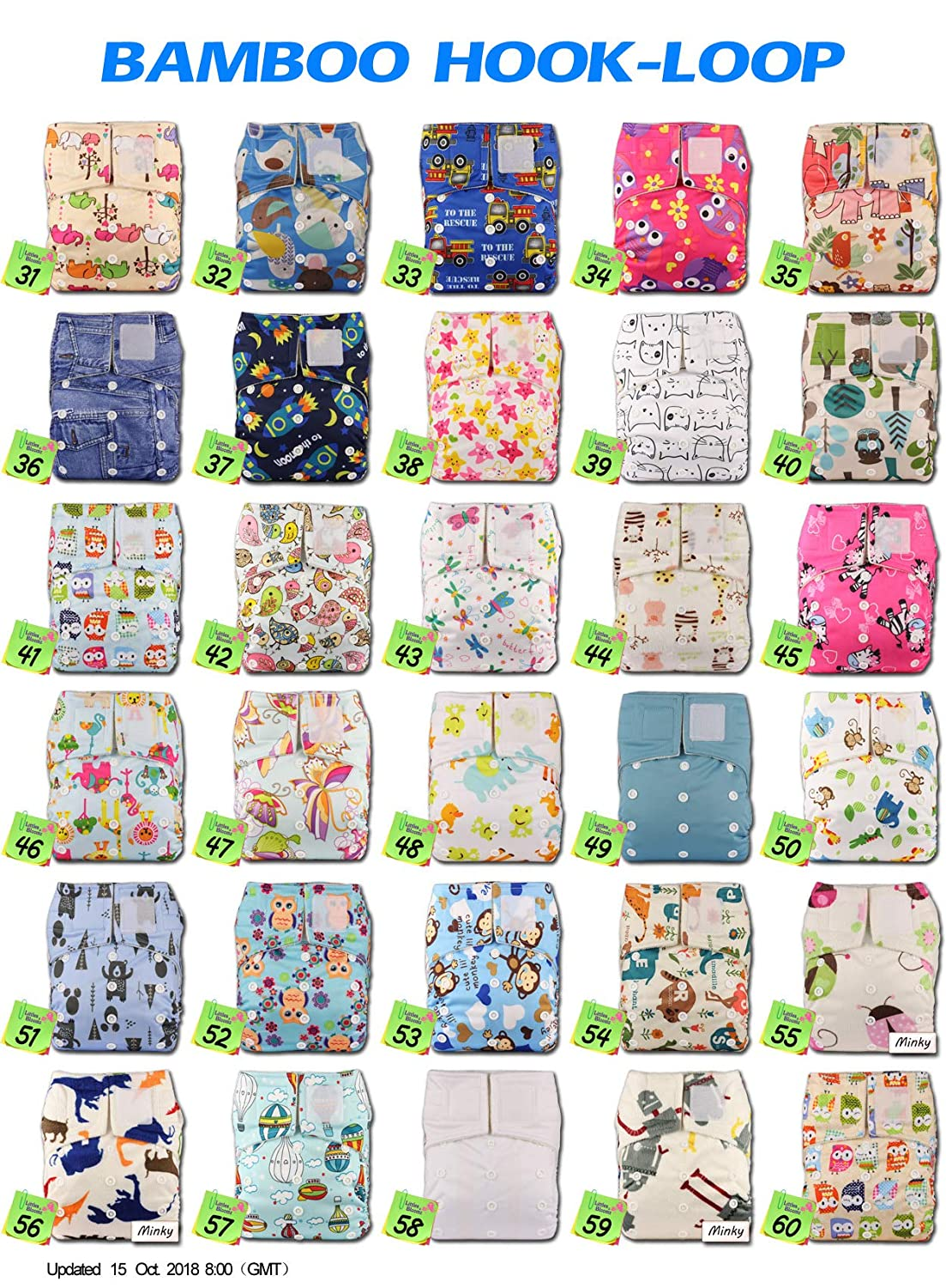 Baby Cloth Washable Reusable Nappy Pocket Diaper Bamboo Without Insert Littles /& Bloomz Fastener: Hook-Loop Pattern 51