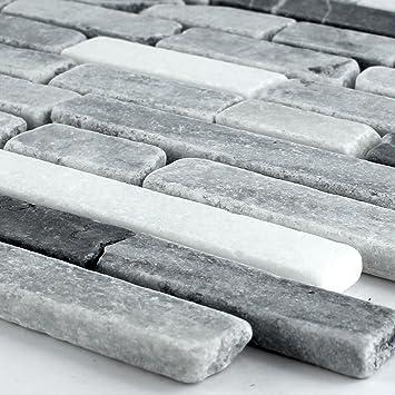 Marmormosaik Mosaik Fliesen Schwarz Grau Mix Amazonde Baumarkt - Mosaik fliesen grau mix