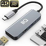 USB Type C HDMI アダプタ IIQ hdmiポート+ USBタイプC高速PD充電ポート + USB 3.0高速ポート + USB2.0ハブポート 4-in-1 変換 アダプタ MacBook Pro/MacBook Air 2018/2019 iPad Pro 2018/2019,Samsung Galaxy S10/note 9/Surface Go/USB C デバイス対応