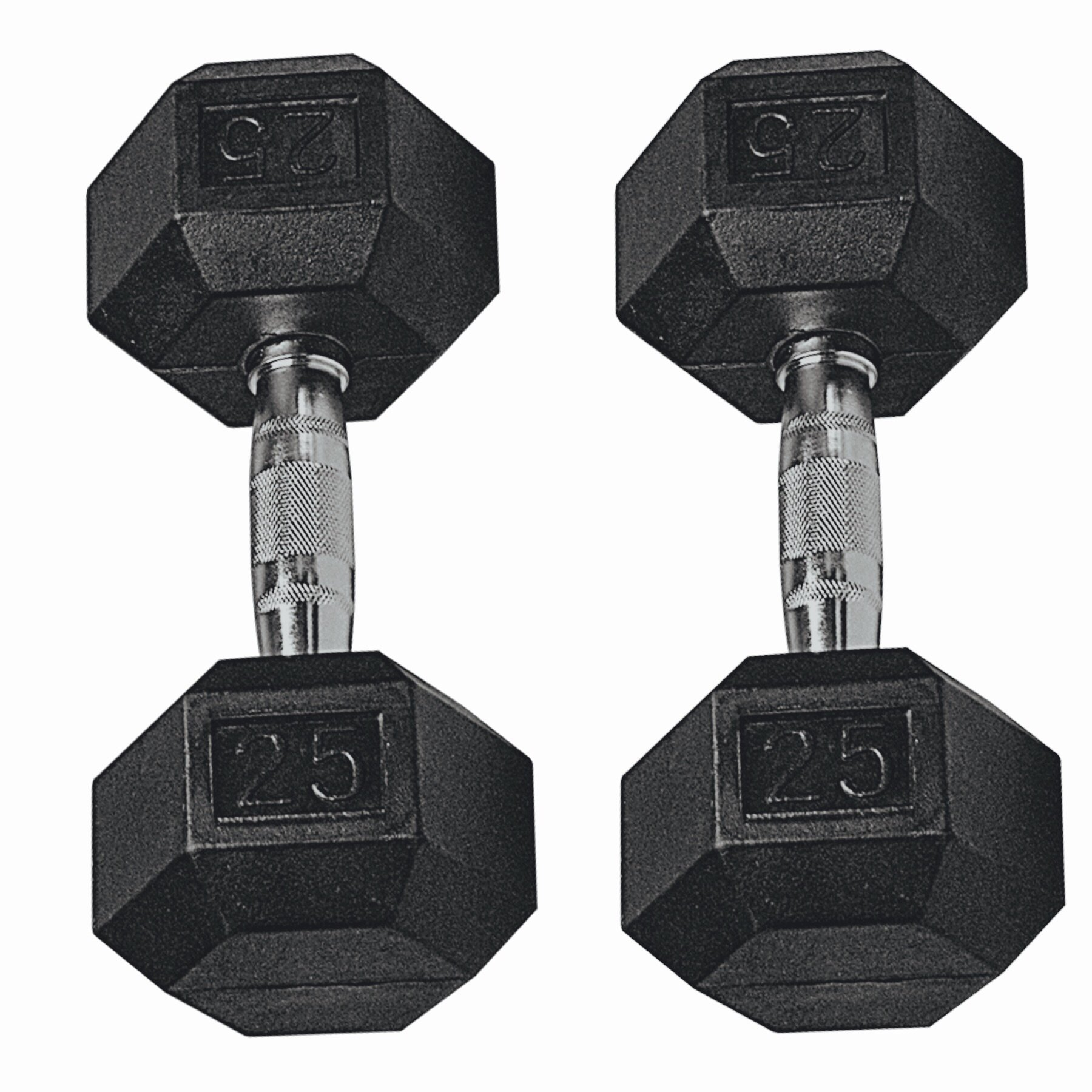 GYMENIST Set of 2 Hex Rubber Dumbbell with Metal Handles, Pair of 2 Heavy Dumbbells (25 Lb)