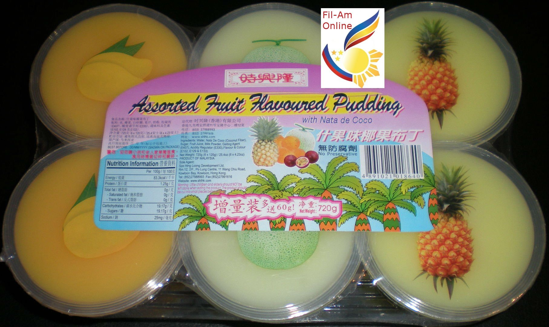 Mango Pineapple and Honeydew Flavoured Pudding Pack of 6 with Nata de Coco 720g