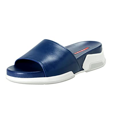 0e2a2be767c649 Image Unavailable. Image not available for. Color  Prada Women s Blue  Leather Flip Flop Sandals Shoes Sz US 9 IT 39