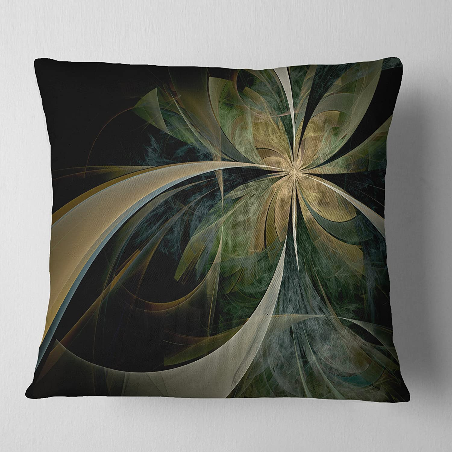Sofa Throw Pillow x 18 in Designart CU12028-18-18 Brown and Gold Symmetrical Fractal Design Floral Cushion Cover for Living Room 18 in Insert Printed On Both Side in