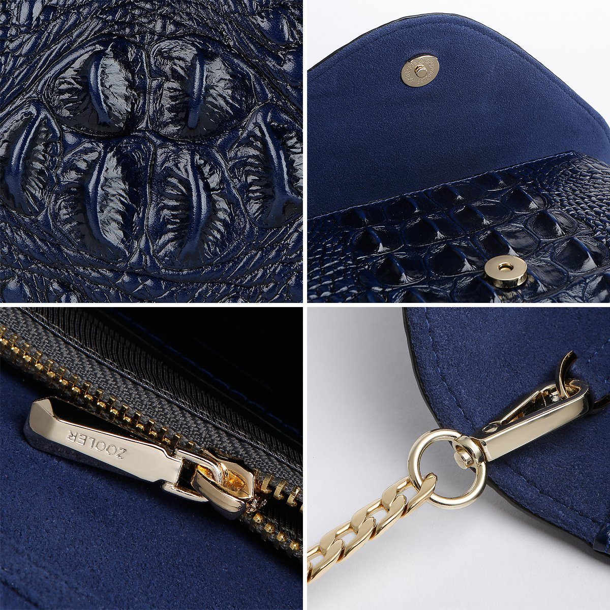 ZOOLER GLOBAL Genuine Leather Purse Clutch Crossbody Bag Crocodile Embrossed Blue