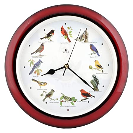 Lovely Collection 14-inch Plays 12 Popular North American Bird s Songs Wall Clock Mantel Clock Home Deco Multicolor Mahogany