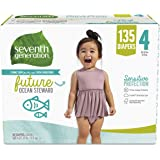 Seventh Generation Baby Diapers for Sensitive Skin, Size 4, 135 count (Packaging May Vary)