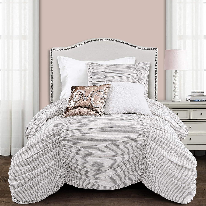 Lush Decor, Gray Ruching Ticking Stripe 2 Piece Comforter Set, Twin-XL