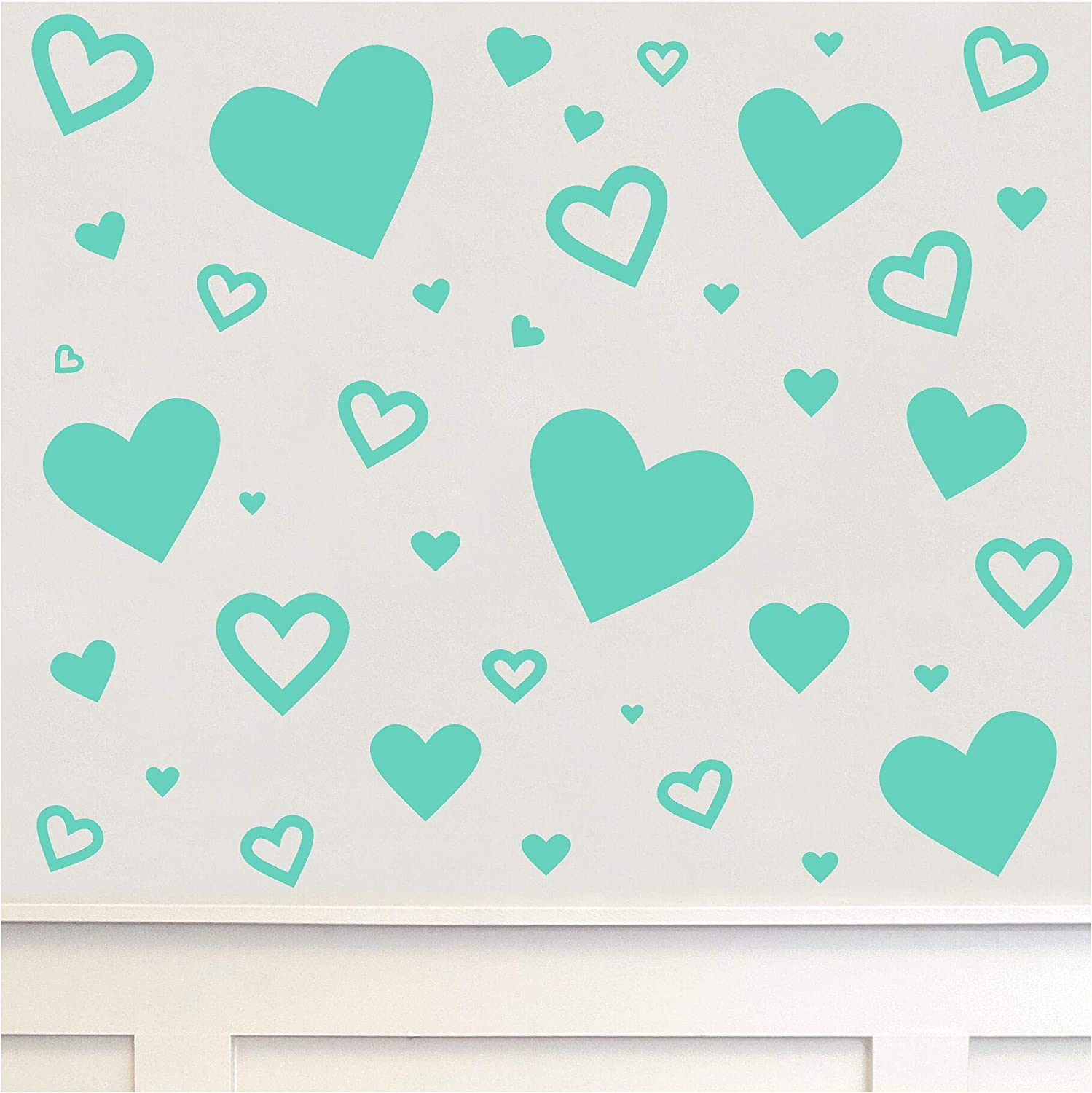 Hearts Set of 62 Wall Decals Solid and Hollow Valentine's Day Heart Removable Vinyl Stickers (Hearts Set of 62, Mint)