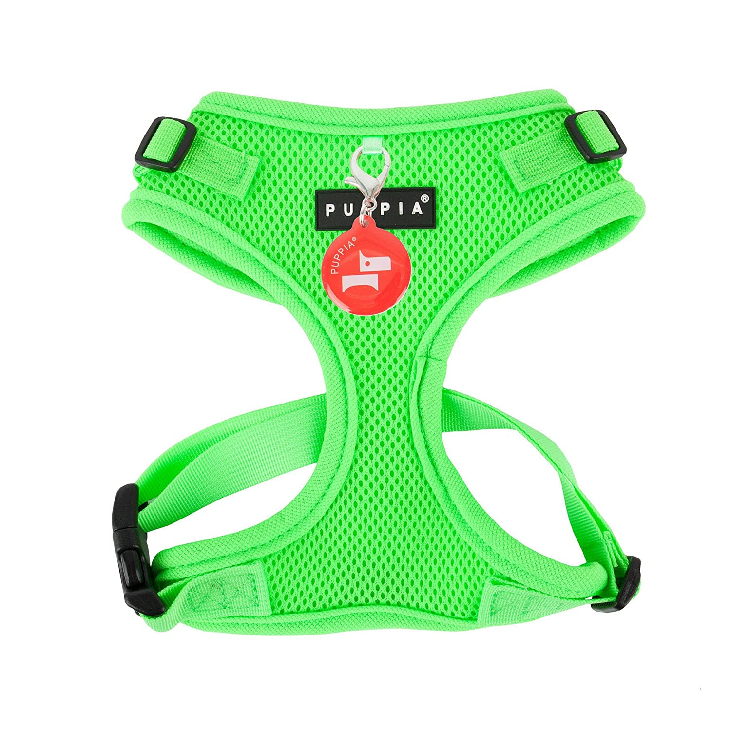 Puppia Authentic Neon Soft Harness II, Large, Green