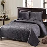Exclusivo Mezcla Luxurious 3-Piece Queen Size Velvet Quilt Set with Pillow Shams, as Bedspread/Coverlet/Bed Cover(Solid Grey)