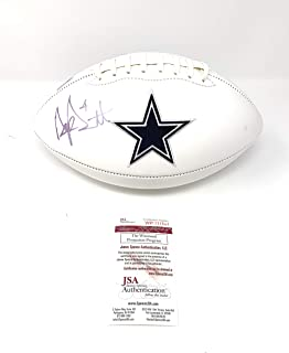 Dak Prescott Dallas Cowboys Signed Autograph Embroidered Logo Football'IMPERFECT' DAMGE DISCOUNT Dak Player Hologram JSA Witnessed Certified