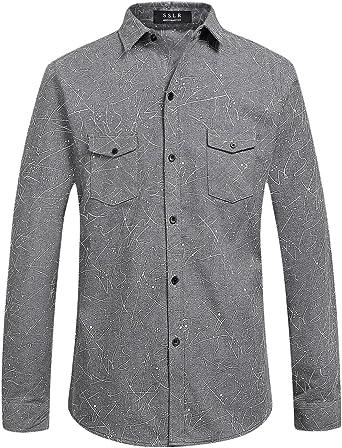 SSLR Camisa Hombre Manga Larga Slim de Franela a Lunares