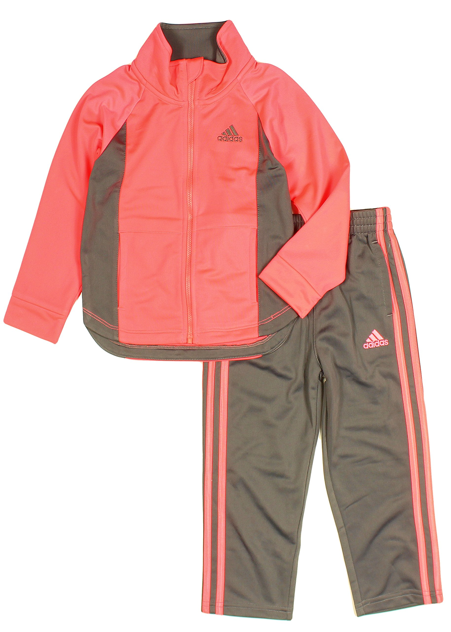 adidas Girls Tricot Zip Jacket and Pant Set, Coral Pink (4T) by adidas