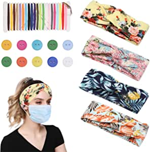 Sllaiss 4-12 Pcs Boho Headbands for Women Stretchy Knotted Headwrap for Yoga Running Workout Good Ear Saver Floral Headbands for Women Beach Headbands Elastic Hair Accessories