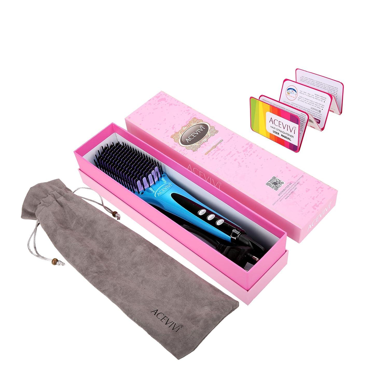 ACEVIVI Cepillo alisador eléctrico para el cabello (iónico, pantalla LCD): Amazon.es: Belleza