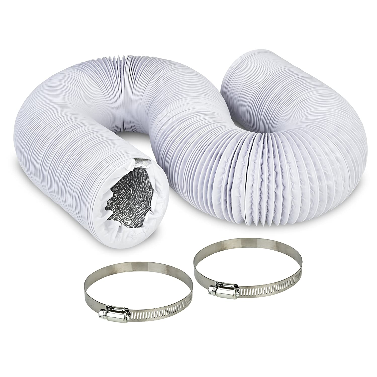 """4"""" Air Duct - 8 FT Long, White Flexible Ducting with 2 Clamps, 4 Layer HVAC Ventilation Air Hose - Great for Grow Tents, Green Houses, House Vent Register Lines"""