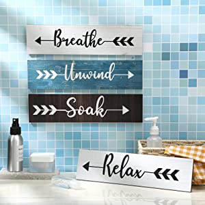 4 Pieces Farmhouse Bathroom Wall Decor Soak Relax Unwind Breathe Wooden Signs Rustic Wooden Plaque with Arrow Signs Hanging Vintage Bathroom Wall Decor for Home Laundry Room Bathroom (Modern Color)