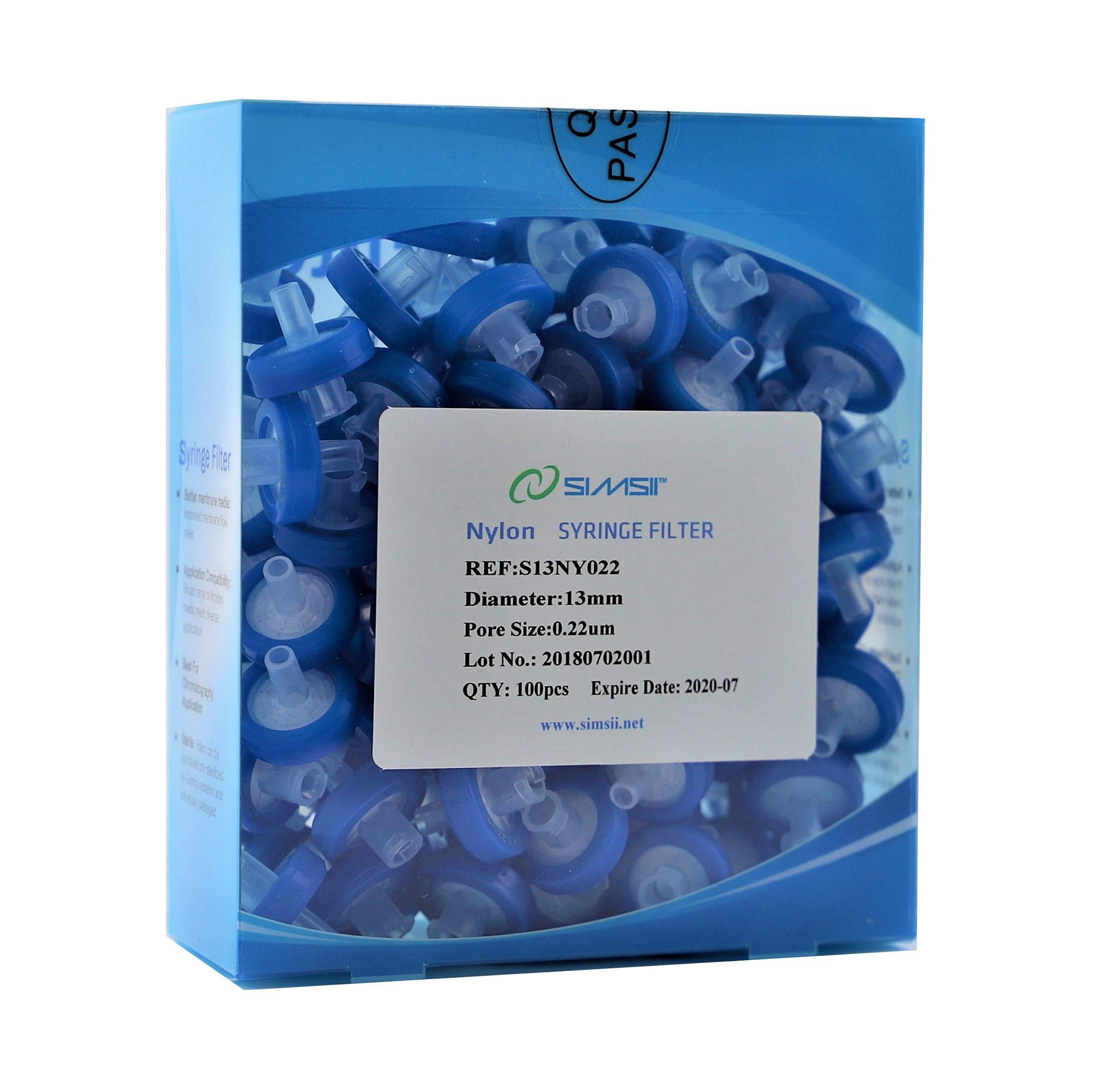 Simsii Syringe Filter, Nylon Filtration Medium, Non Sterile, Diameter 13 mm, Pore Size 0.22 um, Pack of 100