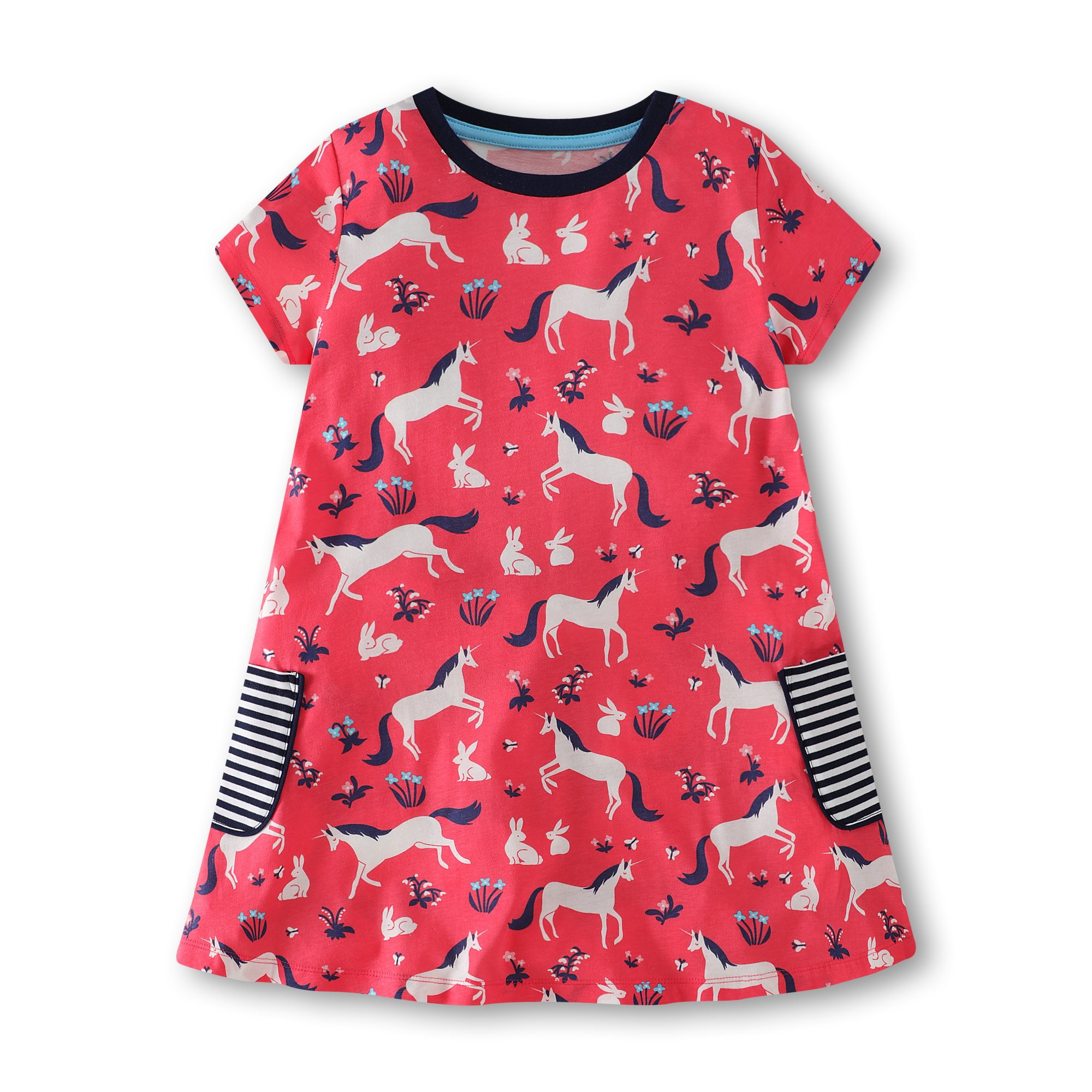 Gorboig Girls Summer Cotton Short Sleeve Cute Prints with Pockets Dress for Toddler(Red/2-3Y)