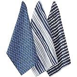 Tag 200914 Indigo Dishtowel, 18 by 26-Inch, Blue/White, Set of 3