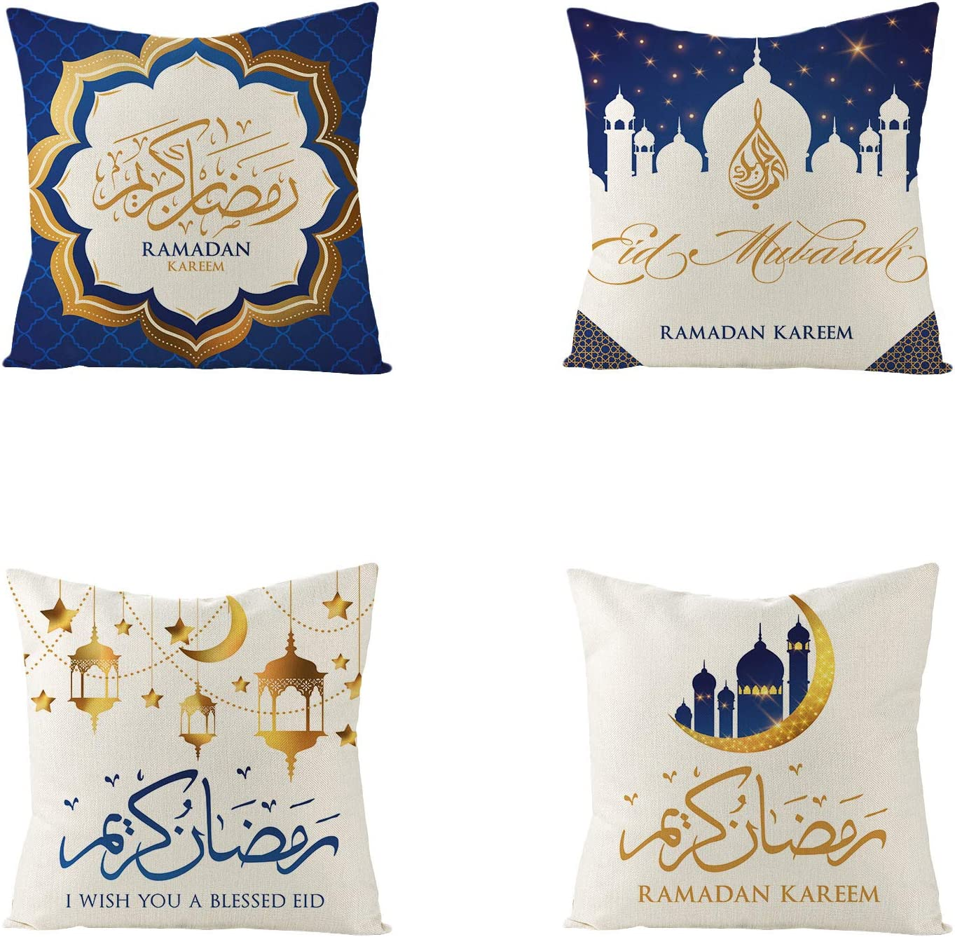 "4 Pieces Ramadan Kareem Pillow Cover IslamicSquare EidMubarakThrow Pillow Case Sofa Bed Couch Throw Cushion Cover Decoration (18"" x 18"")"