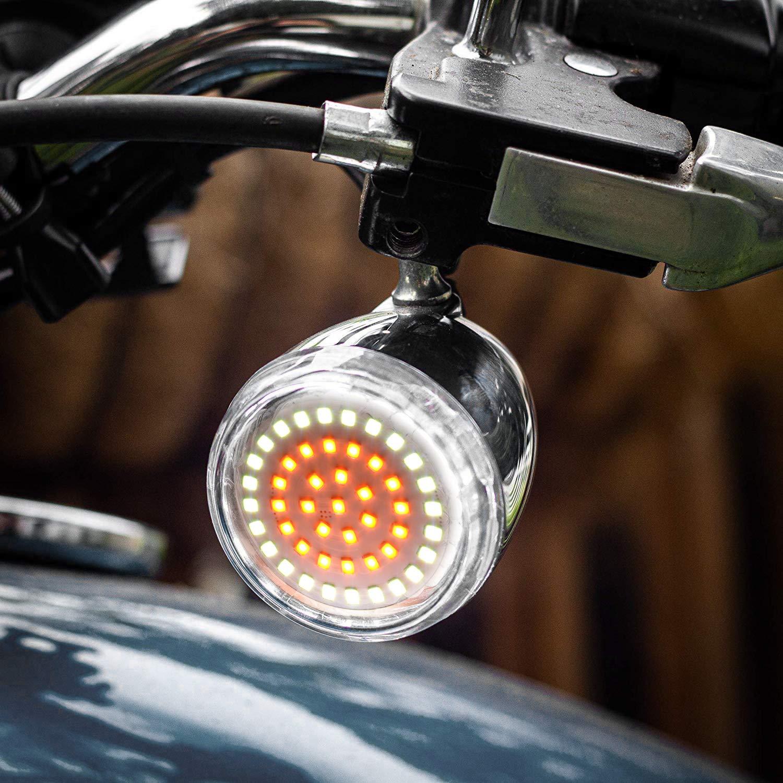 NATGIC 1 Pair 1157 Harley LED Rear Turn Signal Light White Yellow Indicator Rear Switchback LED Light for Harley Touring Sportster14-16 17 Softail 11-17 Dyna 12-17
