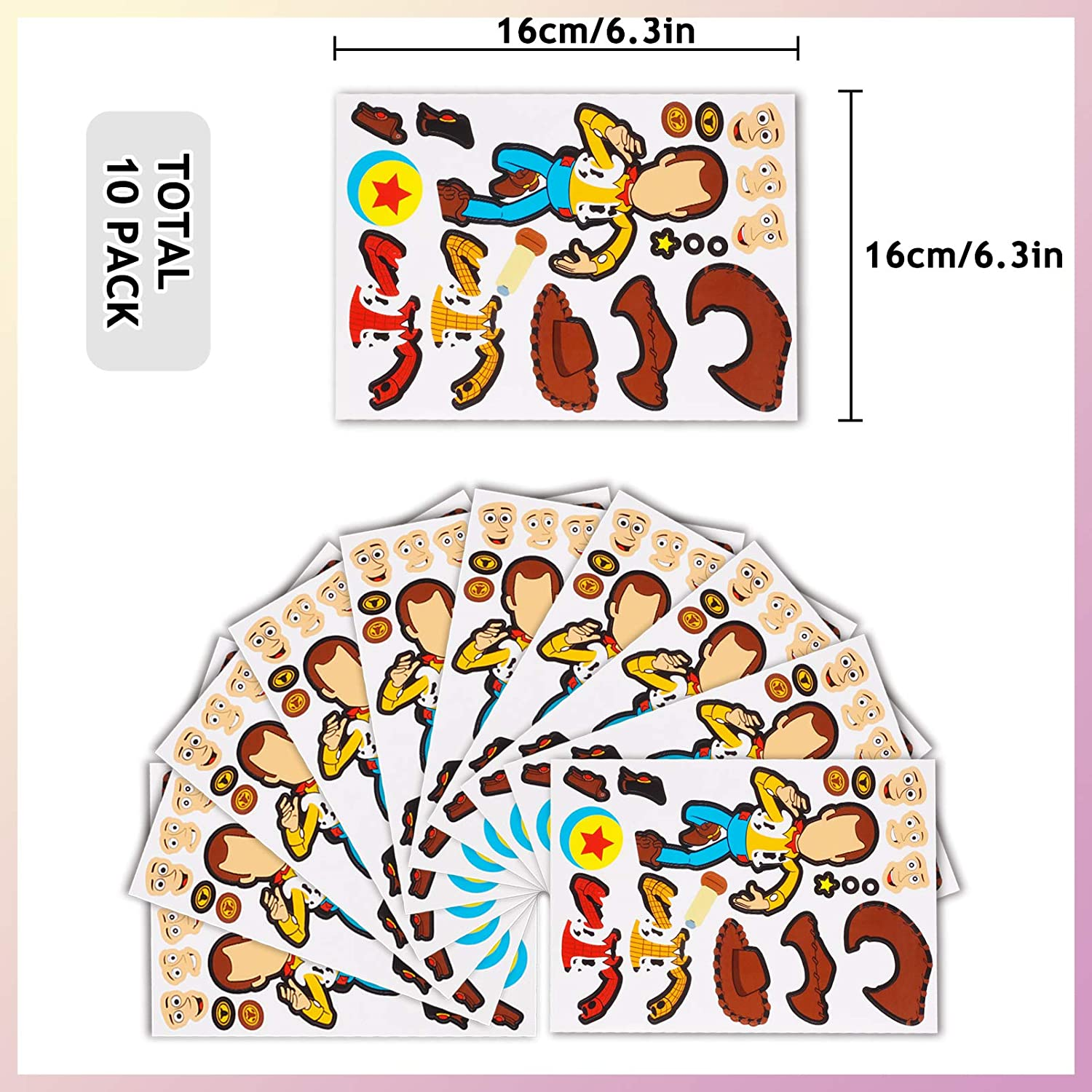 Party Supplies Favors Gift for Kids 10 Sheets Make a Face Stickers Birthday Decorations Boys Girls Kids Classroom School Prizes Rewards Goodies Bags Crafts Christmas Valentine Day