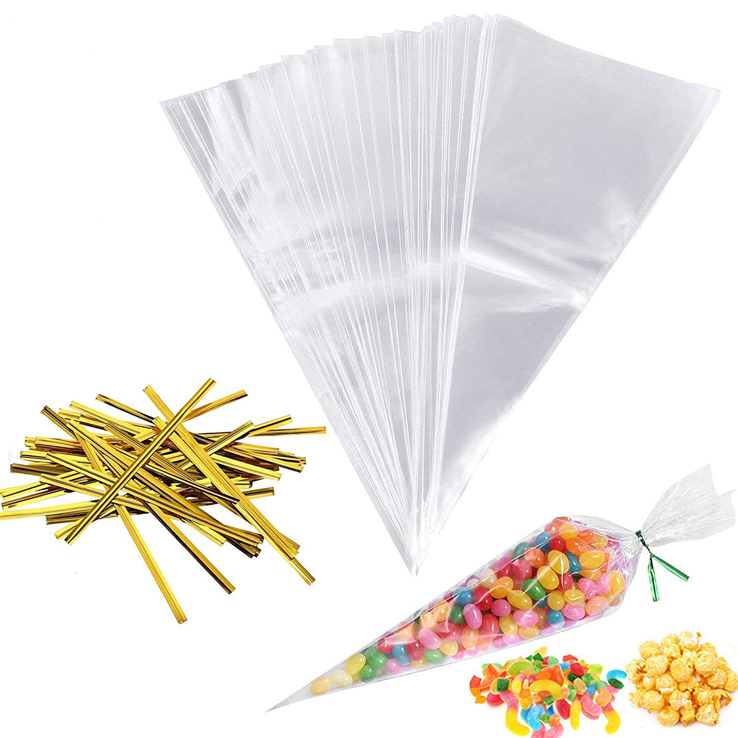 """YELLOW Plain Cone Cellophane Sweet 50 Party Bags With 4/"""" Silver Twist Ties"""