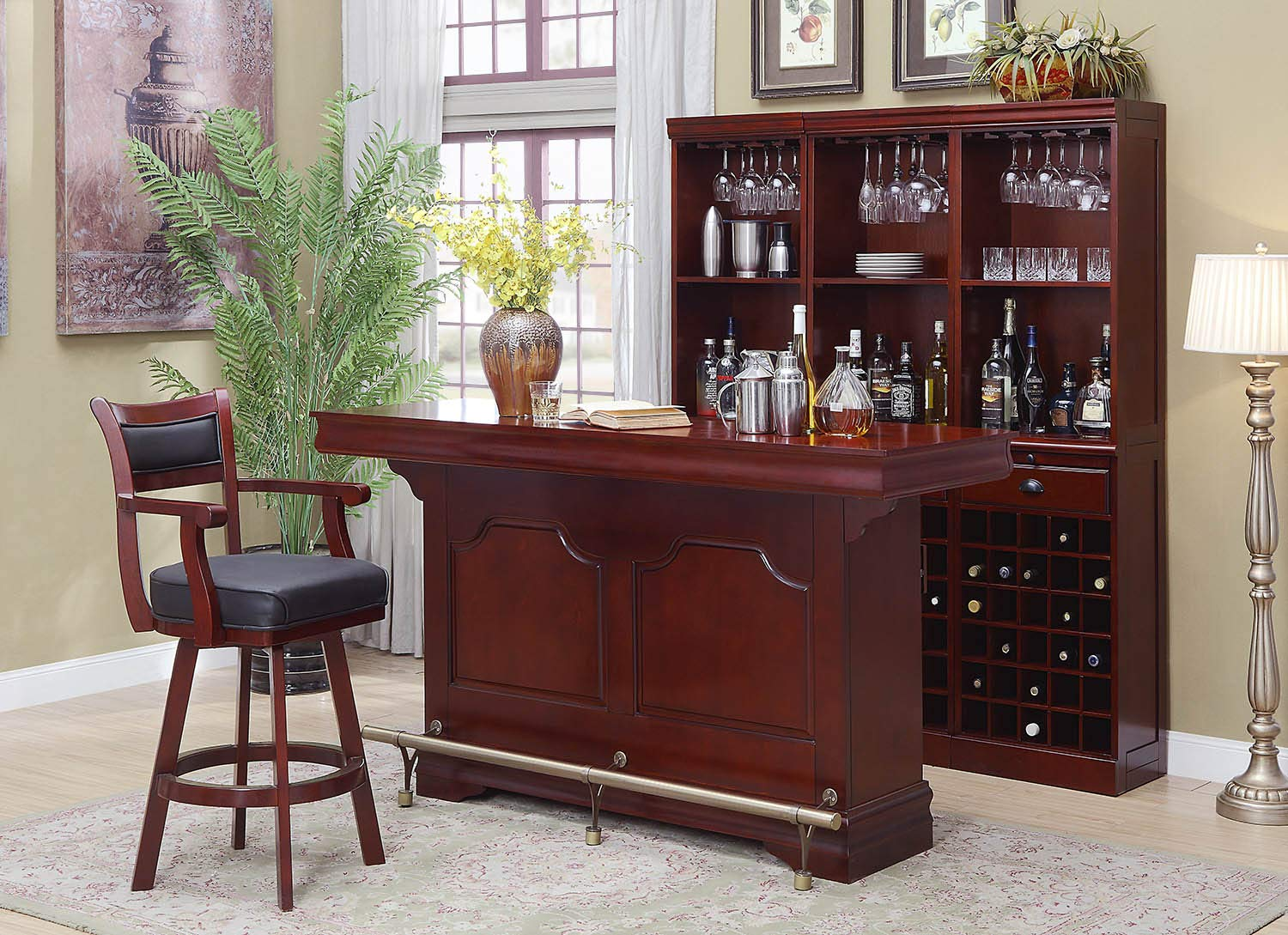 Amazon Com Lambert Bar Unit With Sink Cherry Bar Serving Carts
