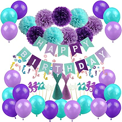 amazon com mermaid party decorations cocodeko happy birthday