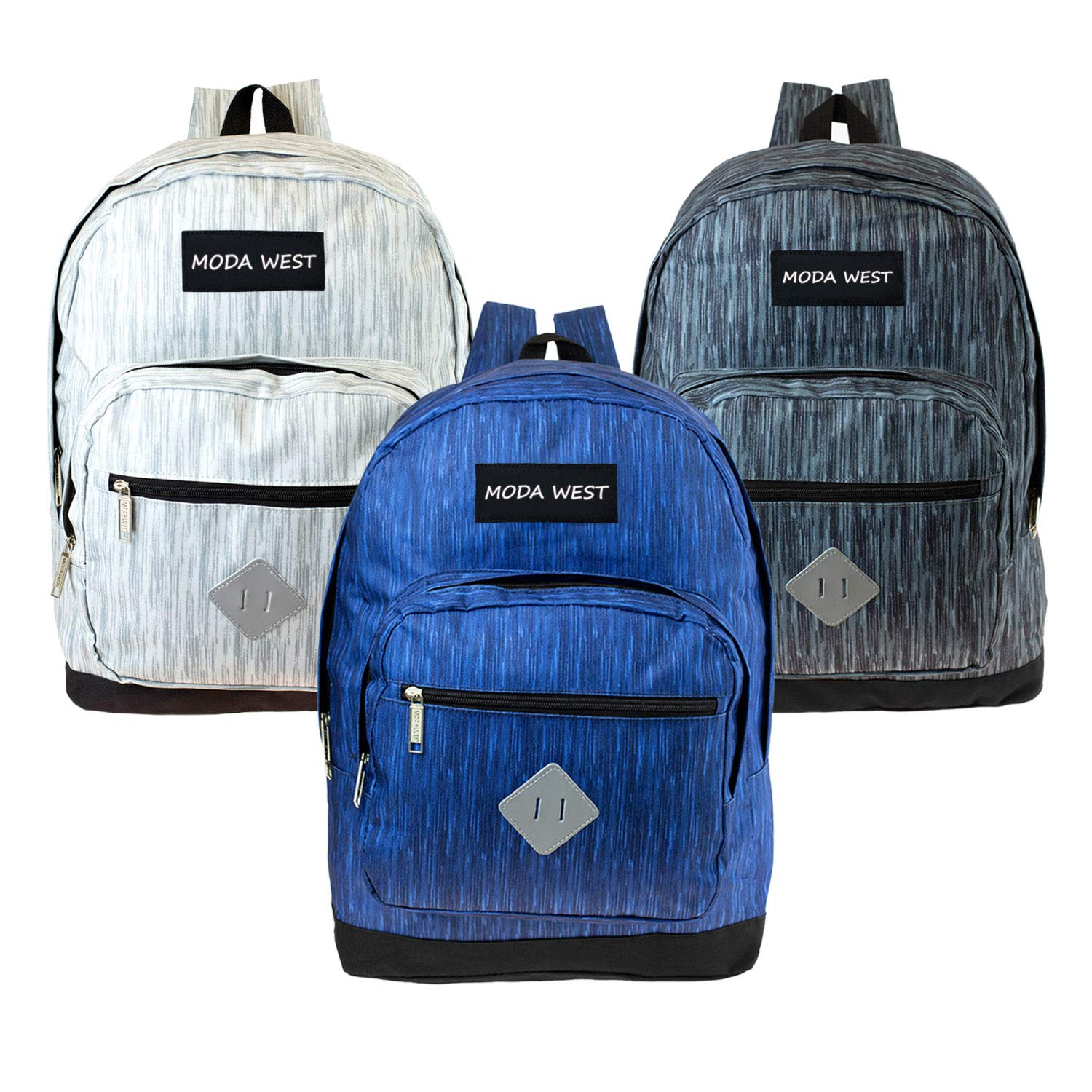17'' Wholesale Backpack in 3 Assorted Space Dye Colors - Bulk Case of 24 Bookbags