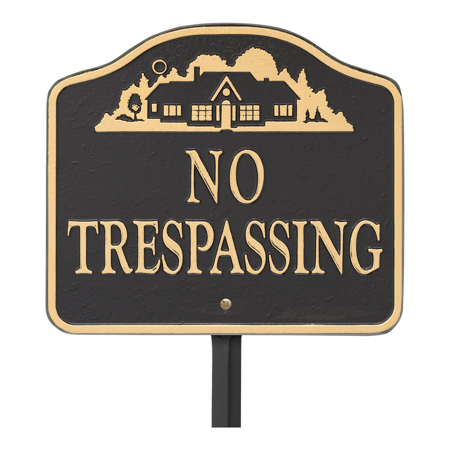 Whitehall No Trespassing, Cast Aluminum, Durable Wall Or Lawn Mounting Decorative Home Design Sign, Black/Gold