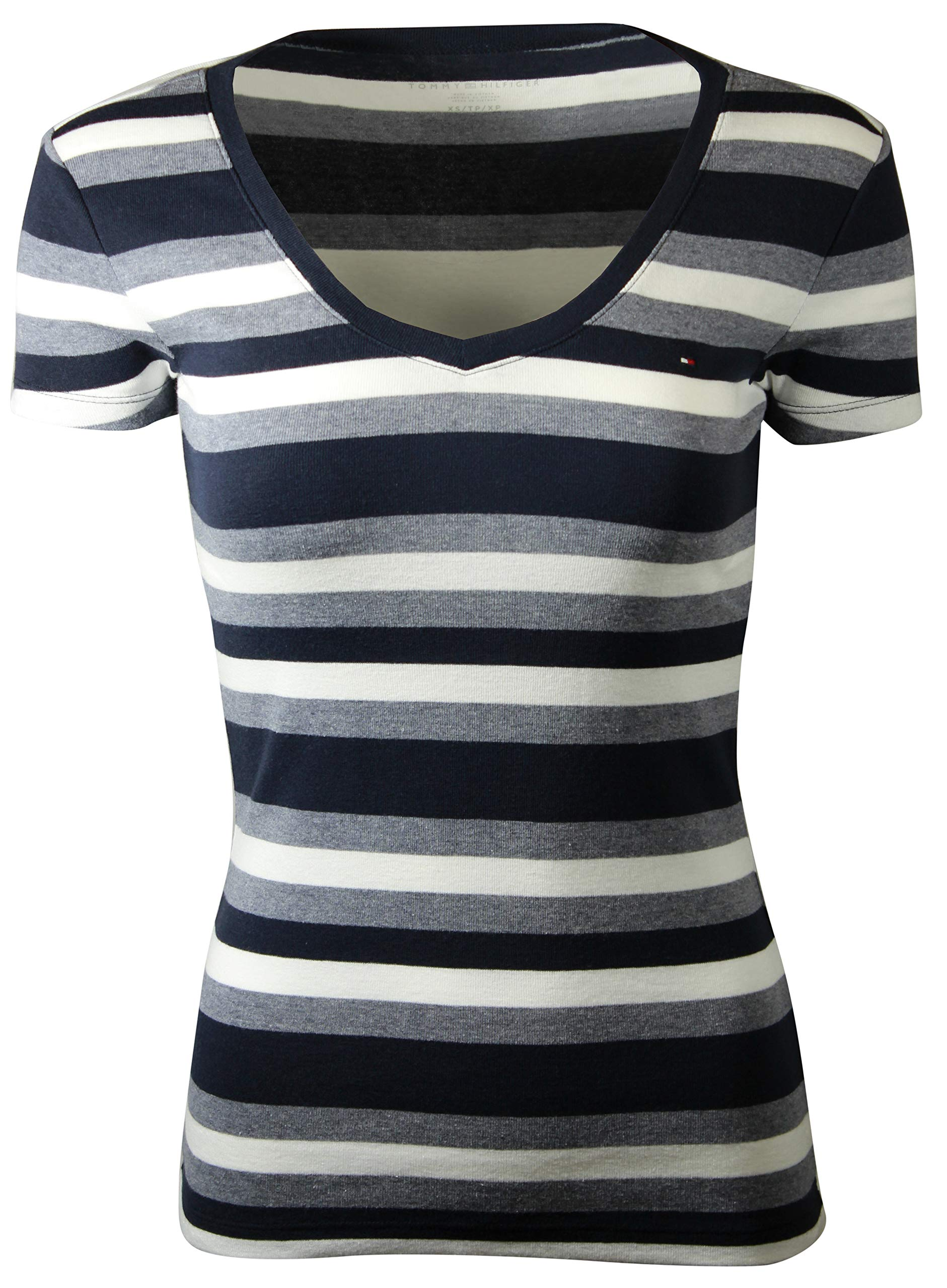 6ff18098 Galleon - Tommy Hilfiger Womens V-Neck Solid Color Logo T-Shirt (X-Small,  Navy/Blue Heather/White)