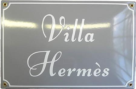 Plaque de Maison  émaillée A Personnaliser 8x8 cm  Panneau de Porte   Nom de Famille, Nom de Villa