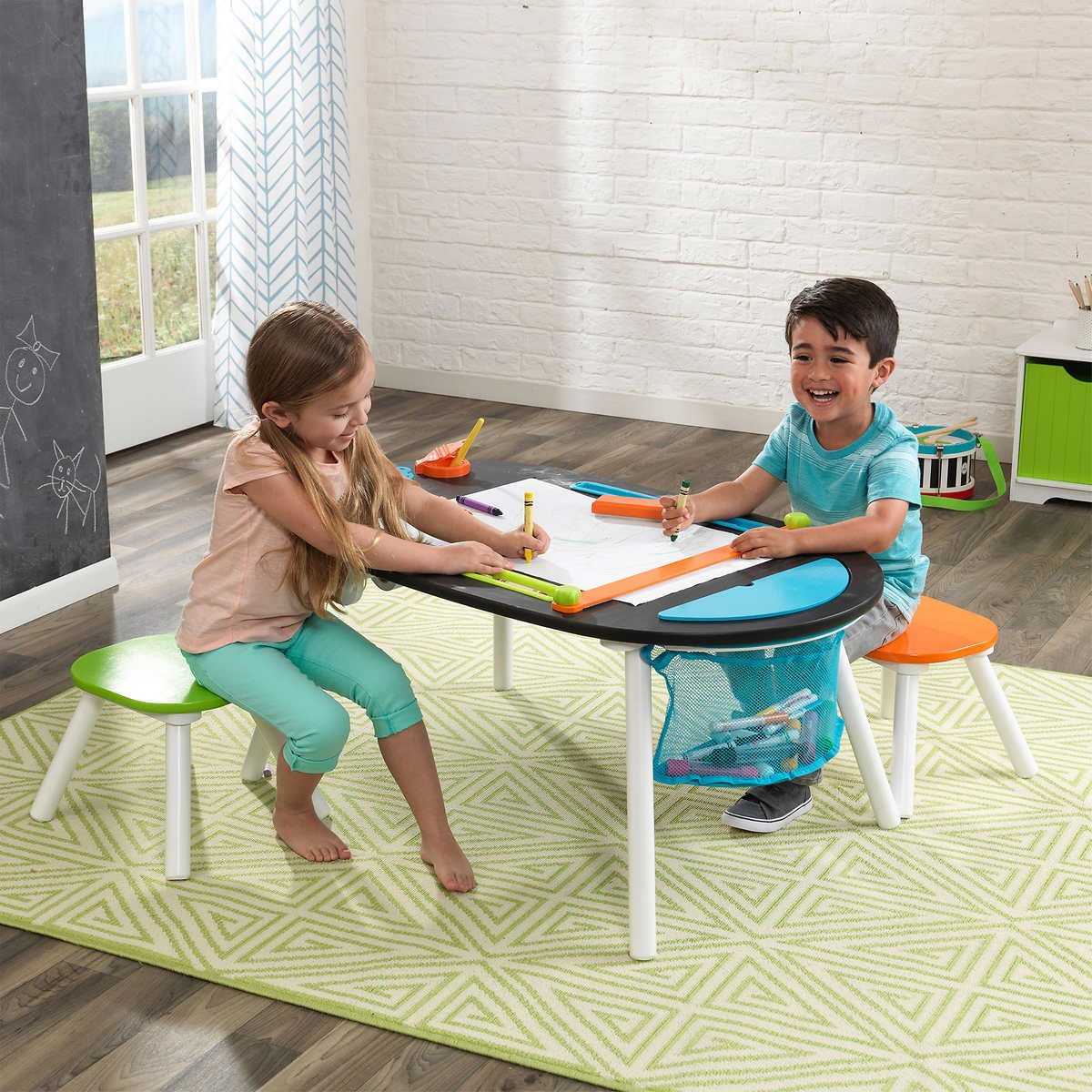 Durable Deluxe Chalkboard Art Table W/ 3 Sealable Spill-Proof Paint Cups, 2 Paper Rolls, 2 Colorful Surdy Stools Features Mesh Storage Compartment Great For Playroom For Ages 3 and Up by KidKraft (Image #2)