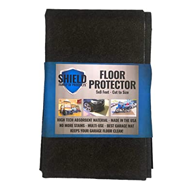 Shield Family Floor Protector - Premium Absorbent Oil Mat – Reusable/Durable/Waterproof – Protects Garage Floor Surface – Garage Shop Mat – Floor Mat for Golf Carts, ATV's, Motorcycles - 5ftx8ft: Sports & Outdoors