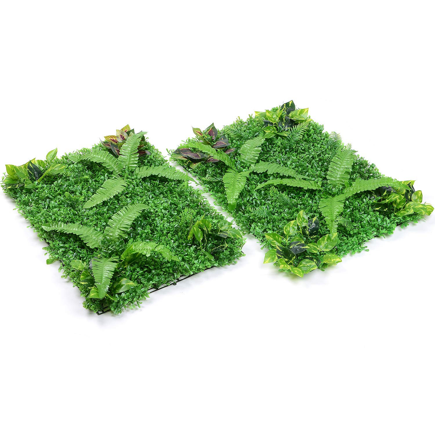 Lvydec 2 Pack Artificial Boxwood Hedge Panels, UV Protected Faux Greenery Fence Panels Mats for Privacy Fence Patio, Greenery Walls Indoor Outdoor Decor, 24'' L x 16'' W Panels, Hawaii Style