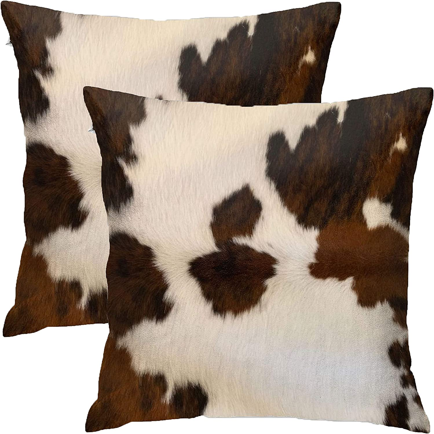 Amazon Com Granbey Set Of 2 Decorative Pillows Covers Cow Skin Abstract Africa Animal Farm Fashion Home Sofa Cushion Cover Throw Pillowcase Gift For Couch Indoor Bed 18 X 18 Inch Home Kitchen