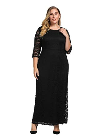 26158dbfd09f Chicwe Women's Plus Size Stretch Lace Maxi Dress - Evening Wedding Cocktail  Party Dress Black 1X