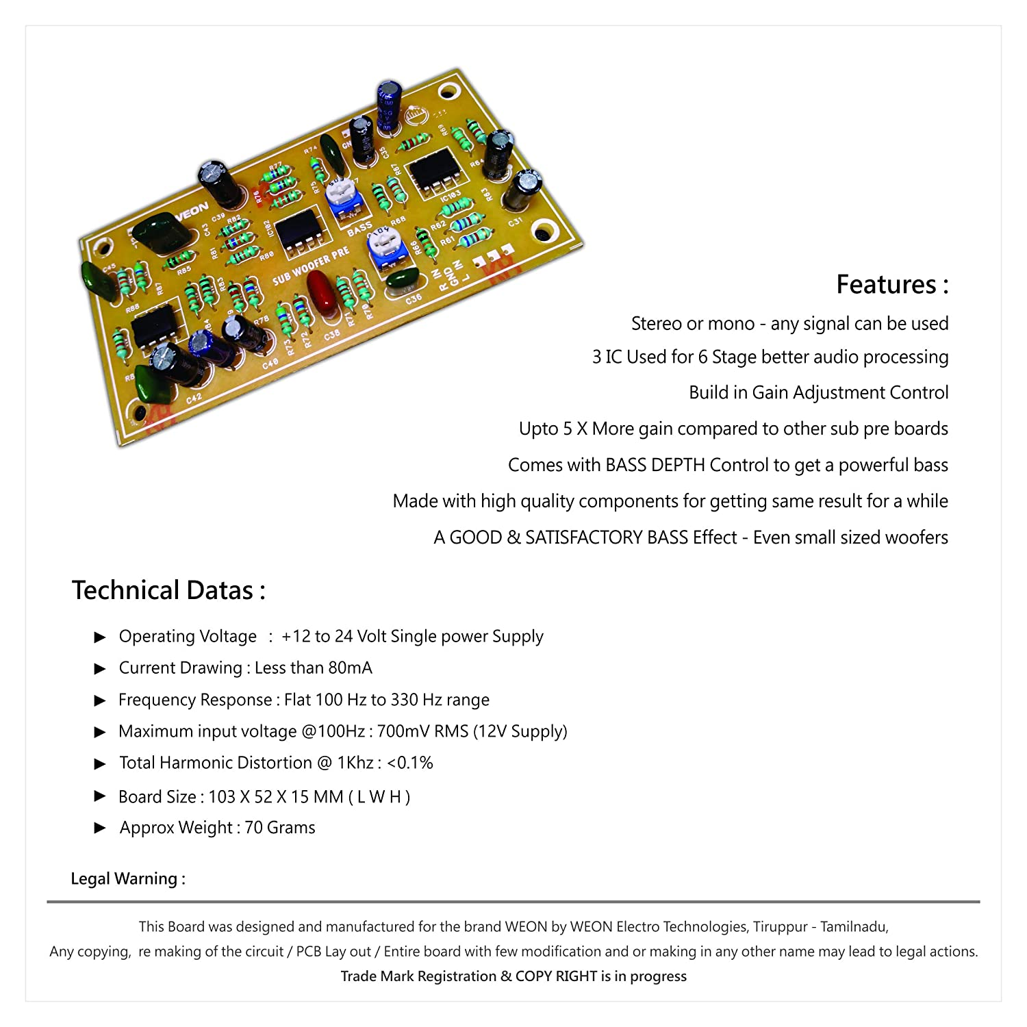 WEON Sub Woofer Pre Amp Board KIT with Triple ICS
