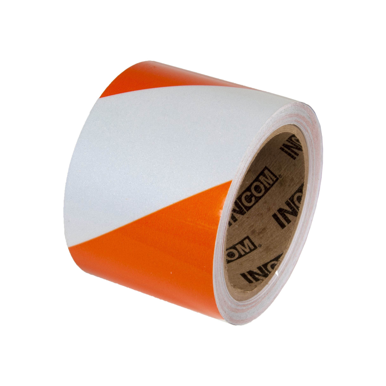 Incom Manufacturing: Engineer Grade Reflective Safety Tape, 4'' x 150', Orange/White